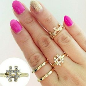 18K Gold Czech Crystal # Ring